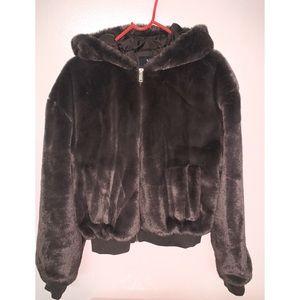 Hooded faux fur bomber jacket